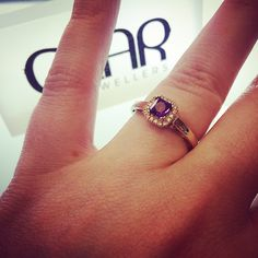 9ct gold amethyst and diamond halo engagement ring from Dublin jewellers, Gear Jewellers, Dublin, Ireland #gearjewellers #dublin #engagementrings #engagmentringsdublin #diamond #dublindiamonds #amethyst