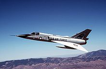 One of the last two F-106s in active service, seen here in 1990 as a safety chase aircraft in the B-1B aircraft production acceptance flight test program.