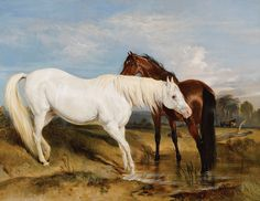 Sir Edwin Henry Landseer (1802-1873), Portrait of an Arab Mare and her Foal, oil, 43 x 51. MS Rau Antiques.