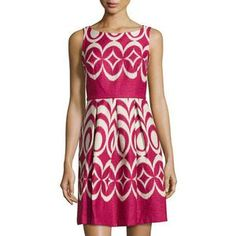 Taylor Women's Printed Sleeveless Fit-and-Flare Dress, Sangria/Tan
