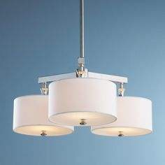 3 Light Drum Shade Chandelier with diffusers - from Shades of Light - 3 60 watt bulbs - polished nickel with white drum shades - $385 - possibly over kitchen eat in table?