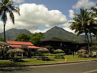 Hanalei Town with a view of Mt. Na Molokama, and Māmalahoa.