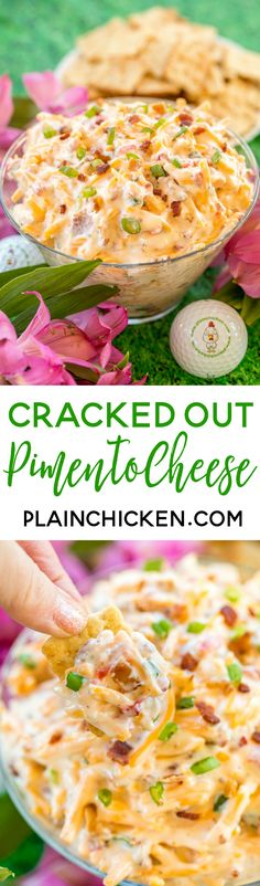 Cracked Out Pimento Cheese - pimento cheese loaded with cheddar, bacon and ranch! Dangerously delicious!! Great as a dip or on a sandwich. Cheddar cheese, pimentos, mayonnaise, ranch dressing mix, bacon, green onions. So simple and it tastes AMAZING! Perfect for watching The Masters golf tournament!  ~ Plain Chicken