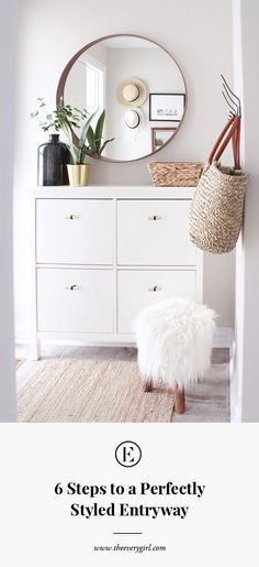 6 Steps to a Perfectly Styled Entryway - Mirror Ideas Entryway Dresser, Dresser As Nightstand, Entryway Decor, Enterance Decor, Dresser Top Decor, Old Bookcase, Vestibule, Round Mirrors, My Living Room