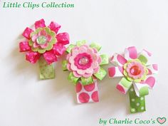 Girls Flower Hair Clips Girls Hair Bows Pink and by CharlieCocos