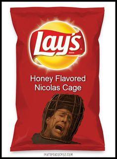 'Lays - Honey Flavored Nicolas Cage' by Tolcarne Lays Potato Chip Flavors, Lays Chips Flavors, Pop Tart Flavors, Lays Potato Chips, Oreo Flavors, Funny Food Memes, Food Humor, Stupid Memes, Gross Food