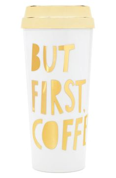Obsessing over this ultra cute travel mug with a playful print in gold.