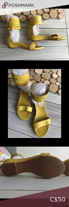 Rudsak leather sandals Mustard colour all leather sandals. Ties around ankle. Super soft and comfortable. Some scuff marks on heel and interior of sandal. Almost no wear on soles. Leather Sandals, Women's Shoes Sandals, Beautiful Sandals, Plus Fashion, Fashion Tips, Mustard, Ties, Ankle, Colour