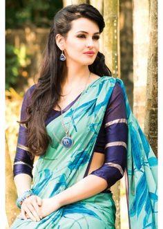 Multi colour orinted georgette saree in printed pallu-SR7287