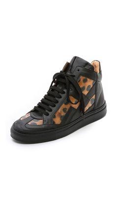 MM6 Maison Martin Margiela Leopard High Top Sneakers