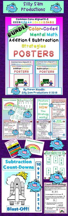 $ Mental Math Addition and Subtraction Strategy Posters BUNDLE!  20% Discount When you purchase the BUNDLE Posters. Common Core Aligned Great Explanations of HOW the Mental Math Strategies work.  Color-Coded with Fun Graphics to Help Students Remember!
