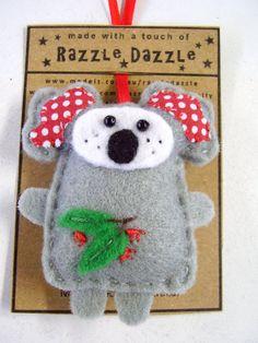 australian koala felt christmas ornament decoration australian animal