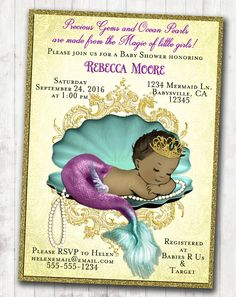 Mermaid Baby Shower Invitation Mother Baby Personalized Teal