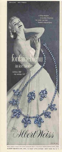 Albert WEISS Fontainebleu Ice Blue necklace & earrings ad from 1956 - Lenora Salazar Jewellery Advertising, Jewelry Ads, Retro Advertising, Cartier Jewelry, Jewelry Stand, Old Jewelry, Vintage Advertisements, Vintage Ads, Antique Jewelry