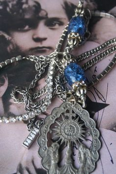 Assemblage jewelry Vintage Assemblage Religious reliquary Royal Jewelry, Vintage Jewelry, Handmade Jewelry, Jewellery, Medieval Jewelry, Rosary Necklace, Unusual Jewelry, Upcycled Vintage, Vintage Rhinestone