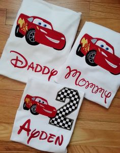 Lightning McQueen Family Cars Disney Shirt Pixar Birthday Number Embroidery(Personalizing Included) Race Track Nascar (One Shirt Listing) Disney Cars Party, Disney Cars Birthday, Car Themed Parties, Cars Birthday Parties, Lightning Mcqueen, Race Car Birthday, Boy Birthday, Birthday Ideas, Disney Shirts