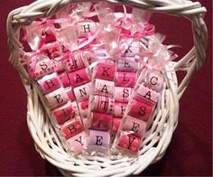 Personalized Valentine's using Hershey Nuggets and sticker letters! Could be fun for school.