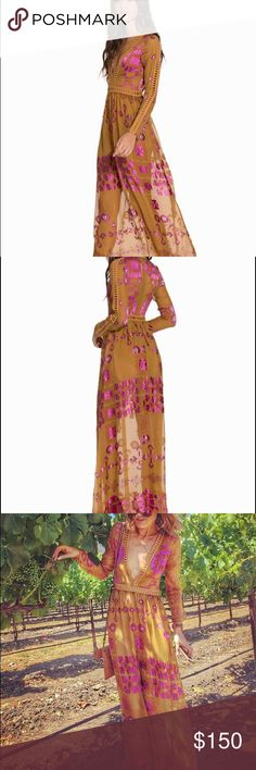 For Love & Lemons Barcelona Maxi dress Tan and fuchsia maxi Barcelona maxi dress. Only worn once. XS. If you've never seen this dress in person, the fabric, velvet and satin leotard look worth a million dollars. For Love and Lemons Dresses Maxi