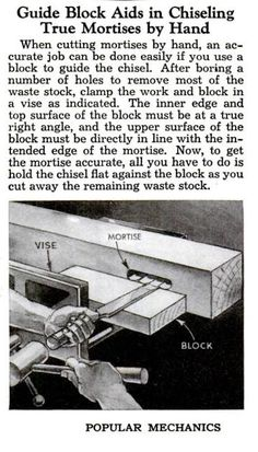 Guide Block Aids in Chiseling True Mortises by Hand, Popular Mechanics, circa January 1945, page 92