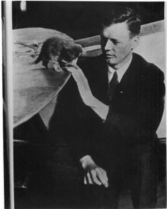 Charles Lindbergh with a kitten, undated.Source:San Diego Air & Space Museum Archives on Flickr.