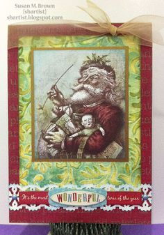 Traditional Holiday Greeting with tons of texture by Susan M. Brown {sbartist} using Unscripted Sketches #159
