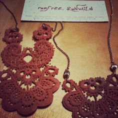 Necklace to the left will be in the online store soon. Muted pink vintage lace + chain.