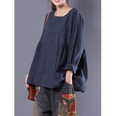 7ef250bb81a1d Retro Women Scoop Neck Long Sleeve Pure Color Side Slit Baggy Shirts at  Banggood Baggy Shirts