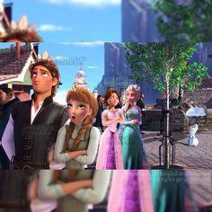 "Elsa, giggling: ""OK guys, joke's over"" Anna: ""I don't know what you're talking about. Cartoon Crossovers, Disney Crossovers, Disney Movies, Disney Princess Art, Disney Fan Art, Jelsa, Merida, Pixar, Amor Ideas"