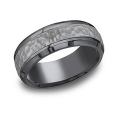 "Benchmark ""Tantalum"" 7.5mm Hammered Texture Comfort Fit Grey & Black…"