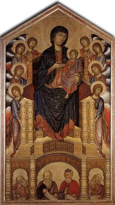 MADONNA ENTHRONED WITH ANGELS AND PROPHETS  ARTIST: CIMABUE  LOCATION: FLORENCE, ITALY  YEAR: 1280