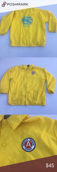 Vintage Delaware Beach Yellow Coach Bomber Jacket Classic Men's XL Yellow Delaware Beach Coach Bomber Jacket. Jacket is in excellent condition with no major flaws. Has an amazing graphic on the back and also Cool American Dredging Patch on the front. Vintage Jackets & Coats Bomber & Varsity