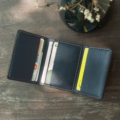 Handmade Trifold wallet, Leather Wallet, Minimalist Wallet in Navy color and Handmade by Mino Crafts (Personalized, Custom Order) Minimal Wallet, Minimalist Leather Wallet, Minimalist Bag, Handmade Leather Wallet, Stitching Leather, Hand Stitching, Best Boyfriend Gifts, Vegetable Leather
