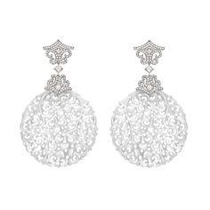 David Marshall white gold carved white jade earrings