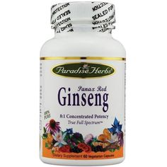 Paradise Herbs Panax Red Ginseng - 60 Vegetarian Capsules * Details can be found by clicking on the image. (This is an affiliate link) #SportsNutrition