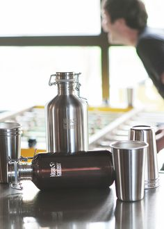 Klean Kanteen Insulated Growlers with Stainless Steel Pint Cups