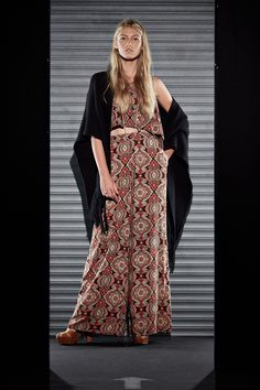 Ethnic print crop top and wide leg pants in a matching set from CASTRO's #flavorsoffall fashion show