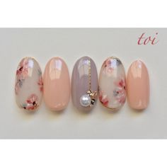 Spring / date / hand / flower / pearl-atelier toi nail Nail book - peach nail Romantic Nails, Elegant Nails, Different Nail Designs, Red Nail Designs, Spring Nails, Summer Nails, Cute Nails, Pretty Nails, Asia Nails