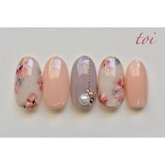 Spring / date / hand / flower / pearl-atelier toi nail Nail book - peach nail