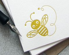 Bumble Bee Note Card Set Letterpress Insect Bamboo Mustard Yellow Spring Lemon Honey 10 pack (NBB01)