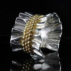 Silver and 18K Yellow Green Gold Diamond Ruffle Cuff