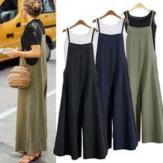 Plus Size Women Overalls Bib Pants Loose Pockets Jumpsuit