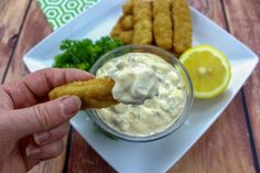 Nothing could be easier or tastier as homemade tartar sauce. You'll love the tangy dill and lemon flavor in this creamy sauce that's full of flavor. Tarter Sauce, Homemade Tartar Sauce, Seafood Recipes, Cooking Recipes, Just A Pinch, Creamy Sauce, How To Make Homemade, Sauces, Tasty
