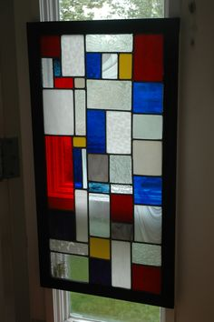 Mondrian style stained glass window