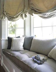 Love this window seat.reading in the rain. It is my dream to have a window seat in my bedroom one day Decor, Window Seat Design, Designer Window Treatments, House Design, Bay Window Seat, Interior Design, Home Decor, House Interior, Window Seat Cushions