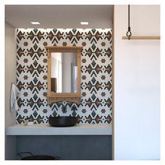 Cretan colors, fabrics and shapes, were used internally and externally. Fabrics, Shapes, Bathroom, Colors, Inspiration, Furniture, Design, Home Decor, Tejidos