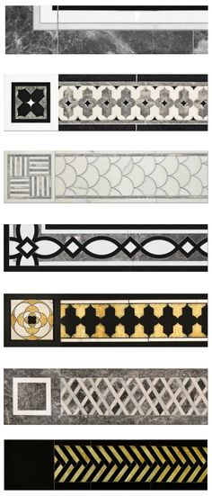 Borders and Caps can mixed and matched, used with simple field tile or with our Artistic Stone designs to create stone rugs. See Design Guide for specifications. In order of appearance: Sienna B… Floor Patterns, Wall Patterns, Textures Patterns, Floor Design, Ceiling Design, Tile Design, Stone Rug, Stone Flooring, Art Decor