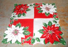Vintage Handkerchief Christmas Poinsettia Floral  by TheBackShak