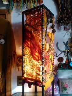 """Lamp in orange colours with """"picoyo"""" - slice of Araucaria branch. For sale in Secretos del Armario Curacautín, Araucanía, Chile (f)"""