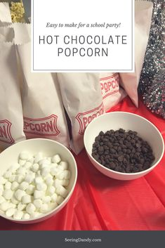 This hot chocolate popcorn recipe is so easy to make and perfect for a school party! #recipes #glutenfree