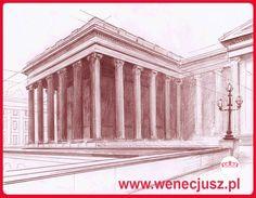 Rysunek - architektura. SZKOŁA RYSUNKU I MALARSTWA  wenecjusz.pl Technical University, Learn To Draw, Drawing Architecture, Fine Art, Drawings, Places, Painting, School, Art